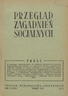 Przegląd Zagadnień Socjalnych : 1952, nr 3
