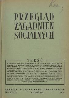 Przegląd Zagadnień Socjalnych : 1952, nr 4
