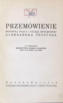 Przemówienie Ministra Pracy i Opieki Społecznej Aleksandra Prystora na posiedzeniu Budżetowej Komisji Sejmowej dnia 23 stycznia 1930 roku
