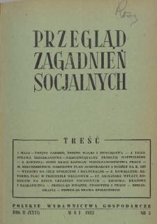 Przegląd Zagadnień Socjalnych : 1952, nr 5