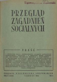 Przegląd Zagadnień Socjalnych : 1952, nr 6