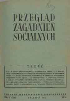 Przegląd Zagadnień Socjalnych : 1952, nr 9