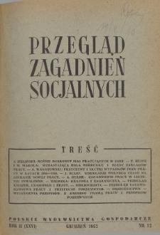 Przegląd Zagadnień Socjalnych : 1952, nr 12