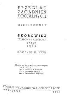 Przegląd Zagadnień Socjalnych : 1952, skorowidz działowy i rzeczowy