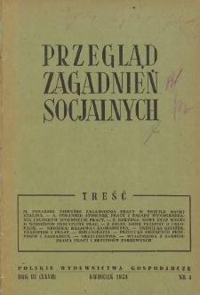 Przegląd Zagadnień Socjalnych : 1953, nr 4