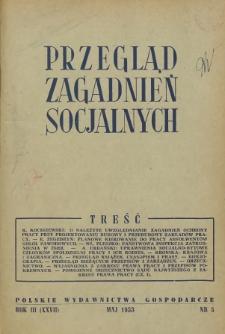 Przegląd Zagadnień Socjalnych : 1953, nr 5