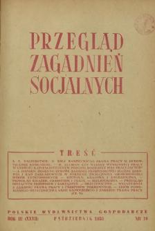 Przegląd Zagadnień Socjalnych : 1953, nr 10