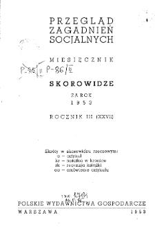 Przegląd Zagadnień Socjalnych : 1953, skorowidz działowy i rzeczowy