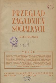 Przegląd Zagadnień Socjalnych : 1954, nr 1