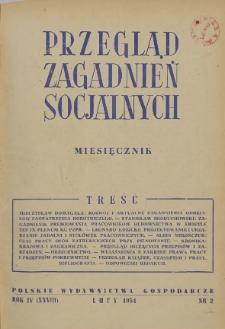 Przegląd Zagadnień Socjalnych : 1954, nr 2