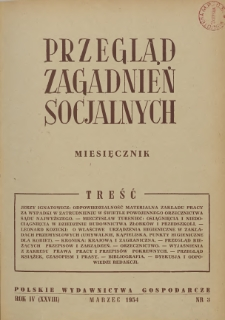 Przegląd Zagadnień Socjalnych : 1954, nr 3