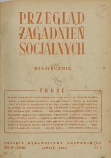 Przegląd Zagadnień Socjalnych : 1954, nr 7