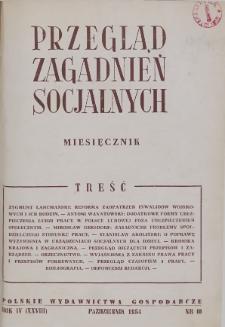 Przegląd Zagadnień Socjalnych : 1954, nr 10