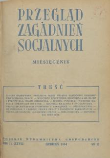 Przegląd Zagadnień Socjalnych : 1954, nr 12