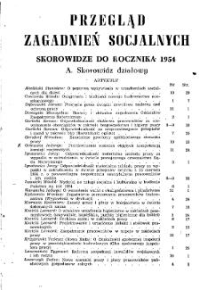 Przegląd Zagadnień Socjalnych : 1954, skorowidz działowy i rzeczowy