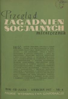Przegląd Zagadnień Socjalnych : 1957, nr 4