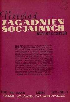 Przegląd Zagadnień Socjalnych : 1957, nr 7