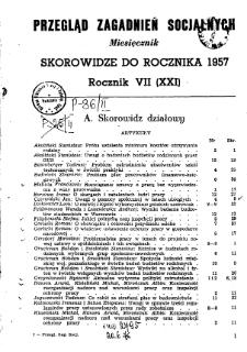 Przegląd Zagadnień Socjalnych : 1957, skorowidz działowy