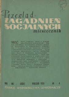Przegląd Zagadnień Socjalnych : 1958, nr 4