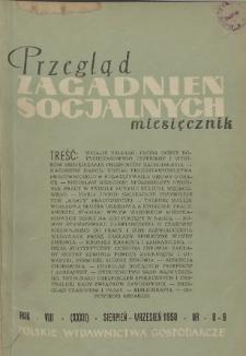 Przegląd Zagadnień Socjalnych : 1958, nr 8-9