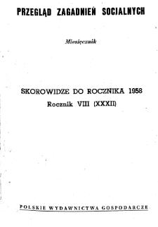 Przegląd Zagadnień Socjalnych : 1958, skorowidz działowy