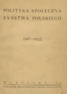 Polityka społeczna państwa polskiego : 1918-1935