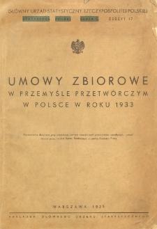 Umowy zbiorowe w przemyśle przetwórczym w Polsce w roku 1933