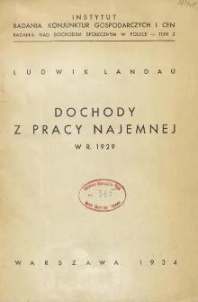 Badania nad dochodem społecznym w Polsce. T. 2 Dochody z pracy najemnej w 1929 r.