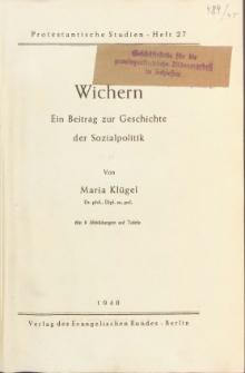 Wichern : ein Beitrag zur Geschichte der Sozialpolitik