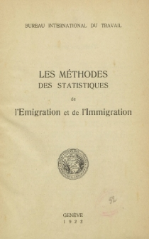 Les mèthodes des statistiques de l'emigration et de l'immigration