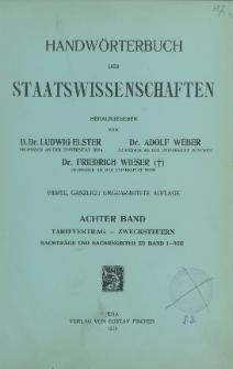 Handwörterbuch der Staatswissenschaften. Bd. 8, Tarifvertrag - Zwecksteuern, Nachträge und Sachregister zu Band I-VIII