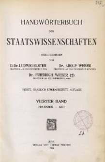 Handwörterbuch der Staatswissenschaften. Bd. 4, Finanzen - Gut