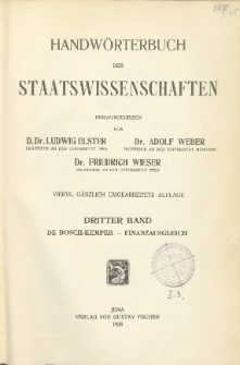 Handwörterbuch der Staatswissenschaften. Bd. 3, De Bosch-Kemper - Finanzausgleich