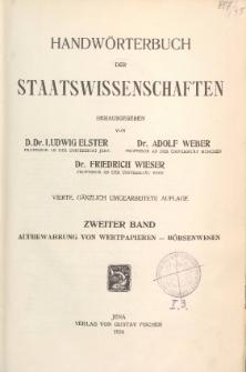 Handwörterbuch der Staatswissenschaften. Bd. 2, Aufbewahrung von Wertpapieren - Börsenwesen