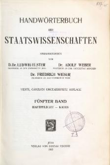 Handwörterbuch der Staatswissenschaften. Bd. 5, Haftpflicht - Kries