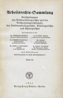 Arbeitsrechts-Sammlung. Bd. 44, Entscheidungen des Reichsarbeitsgerichts und des Reichsehrengerichtshofs, der Landesarbeitsgerichte, Arbeitsgerichte und Ehrengerichte