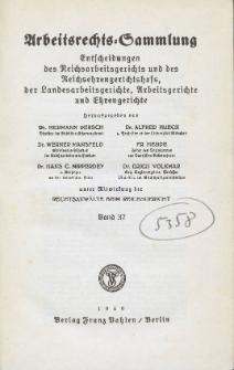 Arbeitsrechts-Sammlung. Bd. 37, Entscheidungen des Reichsarbeitsgerichts und des Reichsehrengerichtshofs, der Landesarbeitsgerichte, Arbeitsgerichte und Ehrengerichte