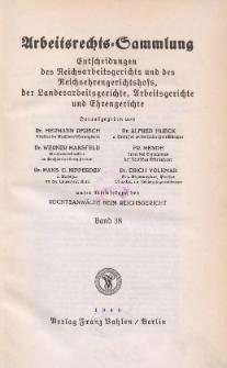 Arbeitsrechts-Sammlung. Bd. 38, Entscheidungen des Reichsarbeitsgerichts und des Reichsehrengerichtshofs, der Landesarbeitsgerichte, Arbeitsgerichte und Ehrengerichte