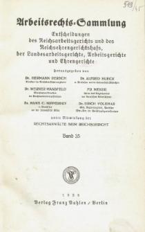 Arbeitsrechts-Sammlung. Bd. 35, Entscheidungen des Reichsarbeitsgerichts und des Reichsehrengerichtshofs, der Landesarbeitsgerichte, Arbeitsgerichte und Ehrengerichte