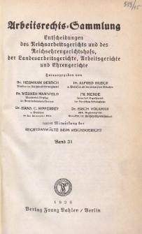 Arbeitsrechts-Sammlung. Bd. 31, Entscheidungen des Reichsarbeitsgerichts und des Reichsehrengerichtshofs, der Landesarbeitsgerichte, Arbeitsgerichte und Ehrengerichte