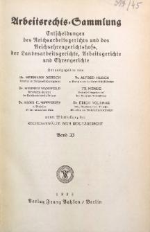 Arbeitsrechts-Sammlung. Bd. 33, Entscheidungen des Reichsarbeitsgerichts und des Reichsehrengerichtshofs, der Landesarbeitsgerichte, Arbeitsgerichte und Ehrengerichte