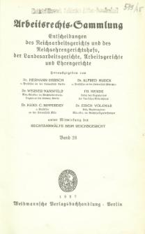 Arbeitsrechts-Sammlung. Bd. 28, Entscheidungen des Reichsarbeitsgerichts und des Reichsehrengerichtshofs, der Landesarbeitsgerichte, Arbeitsgerichte und Ehrengerichte