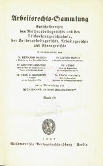 Arbeitsrechts-Sammlung. Bd. 29, Entscheidungen des Reichsarbeitsgerichts und des Reichsehrengerichtshofs, der Landesarbeitsgerichte, Arbeitsgerichte und Ehrengerichte