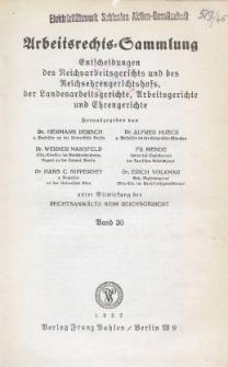 Arbeitsrechts-Sammlung. Bd. 30, Entscheidungen des Reichsarbeitsgerichts und des Reichsehrengerichtshofs, der Landesarbeitsgerichte, Arbeitsgerichte und Ehrengerichte
