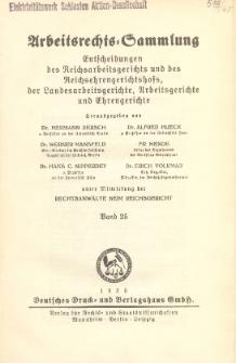Arbeitsrechts-Sammlung. Bd. 25, Entscheidungen des Reichsarbeitsgerichts und des Reichsehrengerichtshofs, der Landesarbeitsgerichte, Arbeitsgerichte und Ehrengerichte