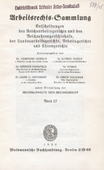 Arbeitsrechts-Sammlung. Bd. 27, Entscheidungen des Reichsarbeitsgerichts und des Reichsehrengerichtshofs, der Landesarbeitsgerichte, Arbeitsgerichte und Ehrengerichte