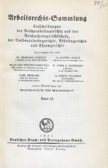 Arbeitsrechts-Sammlung. Bd. 22, Entscheidungen des Reichsarbeitsgerichts und des Reichsehrengerichtshofs, der Landesarbeitsgerichte, Arbeitsgerichte und Ehrengerichte