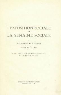 L'exposition sociale et la semaine sociale a Helsinki - Helsingfors 20-26 Aout 1928