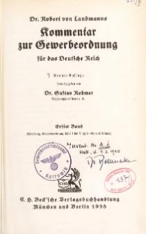 Dr. Robert von Landmanns Kommentar zur Gewerbeordnung für das Deutsche Reich. Bd. 1