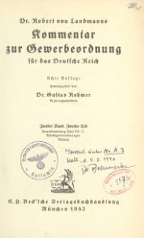 Dr. Robert von Landmanns Kommentar zur Gewerbeordnung für das Deutsche Reich. Bd. 2